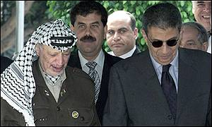 Arab League Secretary-General Amr Moussa (with sunglasses) with Palestinian leader Yasser Arafat