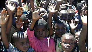 Some of the internally displaced Congolese children in the Congo village of Tobac.