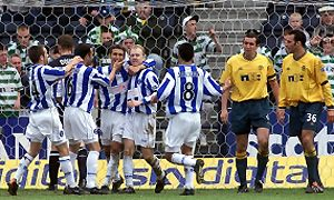 Killie celebrate the goal that took them into Europe