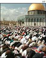 Muslim worshippers at the Al Aqsa Mosque, Jerusalem