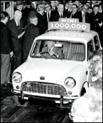 The creator of the Mini drives model number 1,000,000 off the assembly line in Longbridge