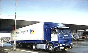 A lorry passes a border crossing