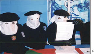 ETA members announcing end of 14-month ceasefire in late 1999