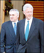 Mr Clinton met with Taoiseach Bertie Ahern