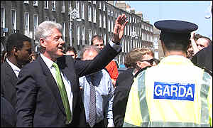 Bill Clinton greets the Irish public in Dublin