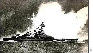 Bismarck takes a direct hit