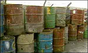 Toxic chemical waste barrels