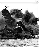Wreckage of the USS Arizona, sunk by Japanese raids