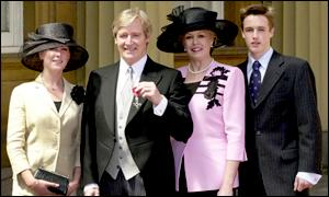 William Roache with daughter Verity, wife Sara and son William