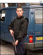 Armed French police officer