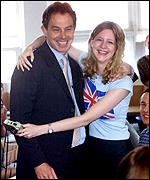Tony Blair with student Jo Balchi