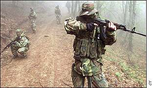 Yugoslav troops patrolling the zone