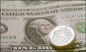 Pound coin and US dollar