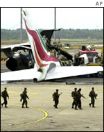 One of the many planes wrecked in the attack on Sri Lanka's international airport