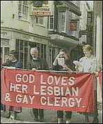 [ image: Gay rights campaigners sang protest songs]