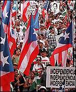 [ image: Independence Party supporters on the march]
