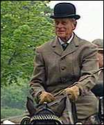 The Duke of Edindburgh going carriage-riding