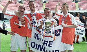 Blackpool players celebrate