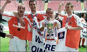 Blackpool players celebrate promotion