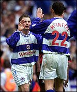 Jamie Cureton celebrates opening goal with Jim McIntyre