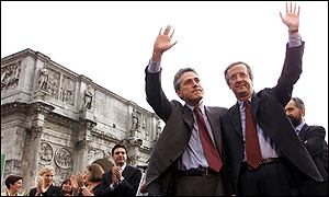 Rome's outgoing mayor, Francesco Rutelli, with Walter Veltroni (right)