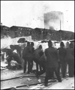 Scene at Toxteth rioting in 1981