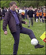 Tony Blair joins a kick-about in his Sedgefield constituency