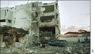 The burned out wreckage of the US embassy in Dar Es Salaam one day after the bomb explosion