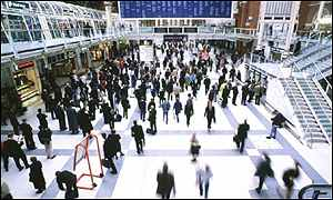 Passengers at Liverpool Street station