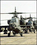 US Attach� helicopters in Saudi Arabia in 1990