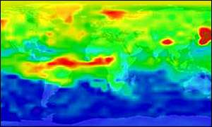 Clouds of air pollution (red) travel across the Earth