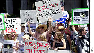 A protest outside Los Angeles Century Plaza Hotel, where Bush spoke at a luncheon on Tuesday