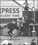 Lester Piggott rides Nijinsky to victory in the 1970 Epsom Derby