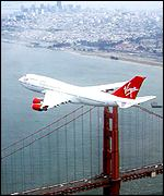 Virgin Atlantic plane over San Francisco's Golden Gate Bridge