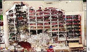 The Alfred P Murrah Federal Building in Oklahoma City after bomb explosion