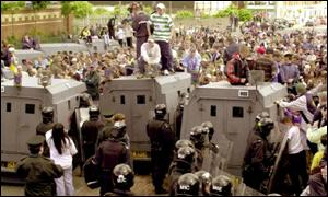 Disturbances in west Belfast after a loyalist parade in 2000