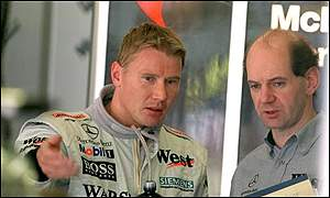 McLaren's Mika Hakkinen has some last minute questions for Newey