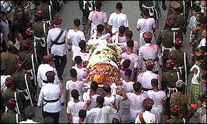 Tens of thousands of people watched funeral procession of King Birendra