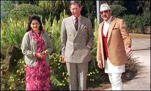 Prince Charles with King Birendra and Queen Aishwarya in Nepal
