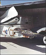 X-43A mounted to Pegasus rocket under B-52 wing