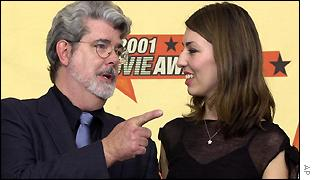 Director George Lucas congratulates Sofia Coppola