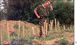 The scene of a mass grave, in the village of Kacanik, Kosovo