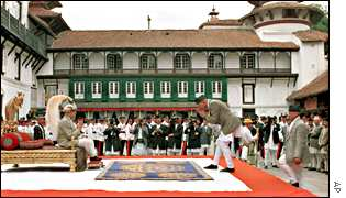 King Gyanendra accepts homage from a subject