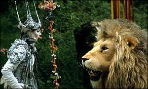 The witch, played by Barbara Kellerman, confronts the lion, in a 1988 BBC production of the book