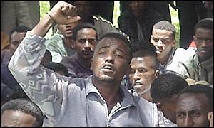Ethiopian students protesting in Addis Ababa
