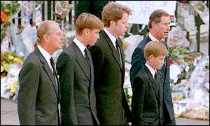 Prince philip walks behind the coffin of diana princess of wales on