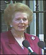 Margaret Thatcher makes her farewell speech outside Downing Street