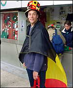 A Belgian tennis fan at Roland Garros