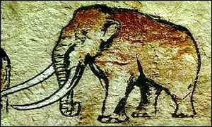 Cave painting of mammoth