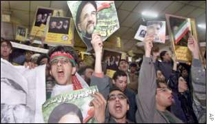 Young Iranians show their support for President Mohammad Khatami